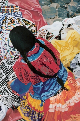 Mexican Woman with Blankets