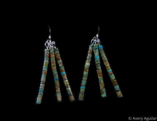 Campitos Turquoise Earrings by Aguilar Pueblo Designs