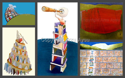 "Five Illustrations for ""Babil Toplum, Kultur, Sanat"" Association 1"