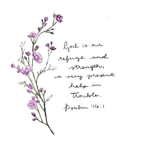 Psalm 46:1 with Purple Flowers
