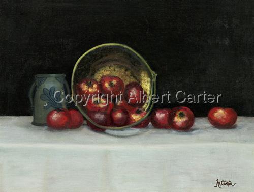Brass bucket of apples