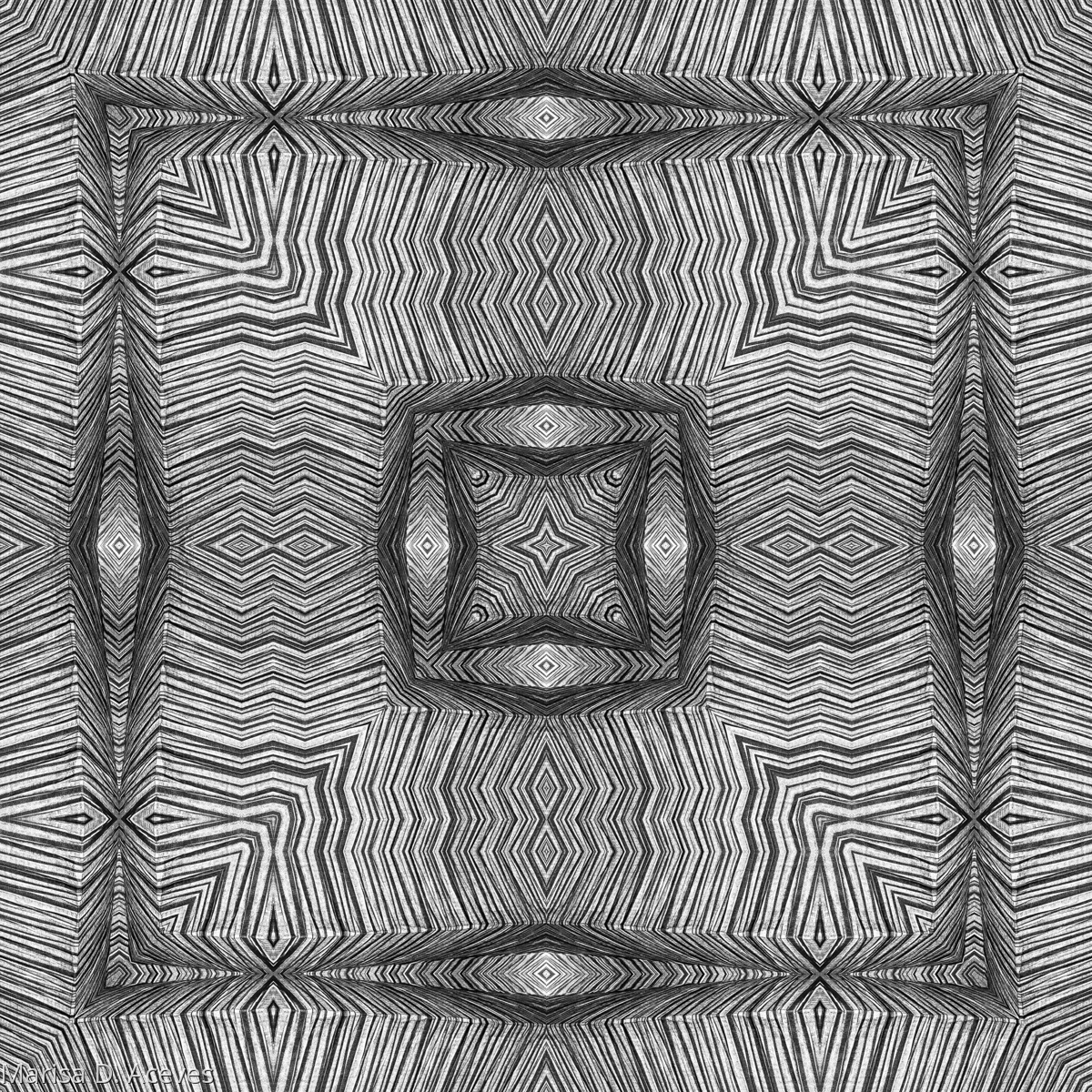 BLACK AND WHITE OPTICAL ART: TRIPLE SQUARE (large view)