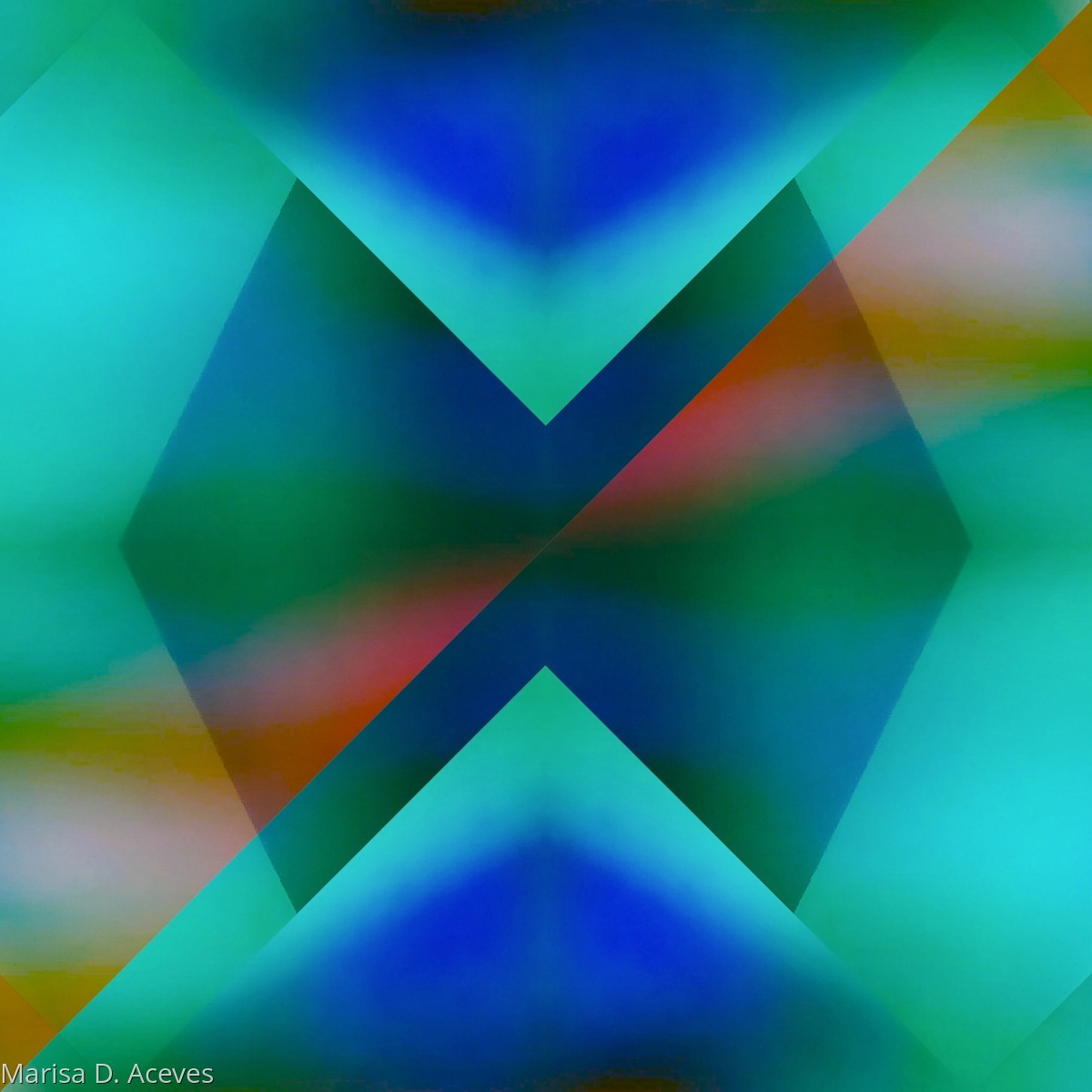 GEOMETRIC COLOR FIELD ABSTRACT ART: FLOATING BOW TIE PRISM  (large view)