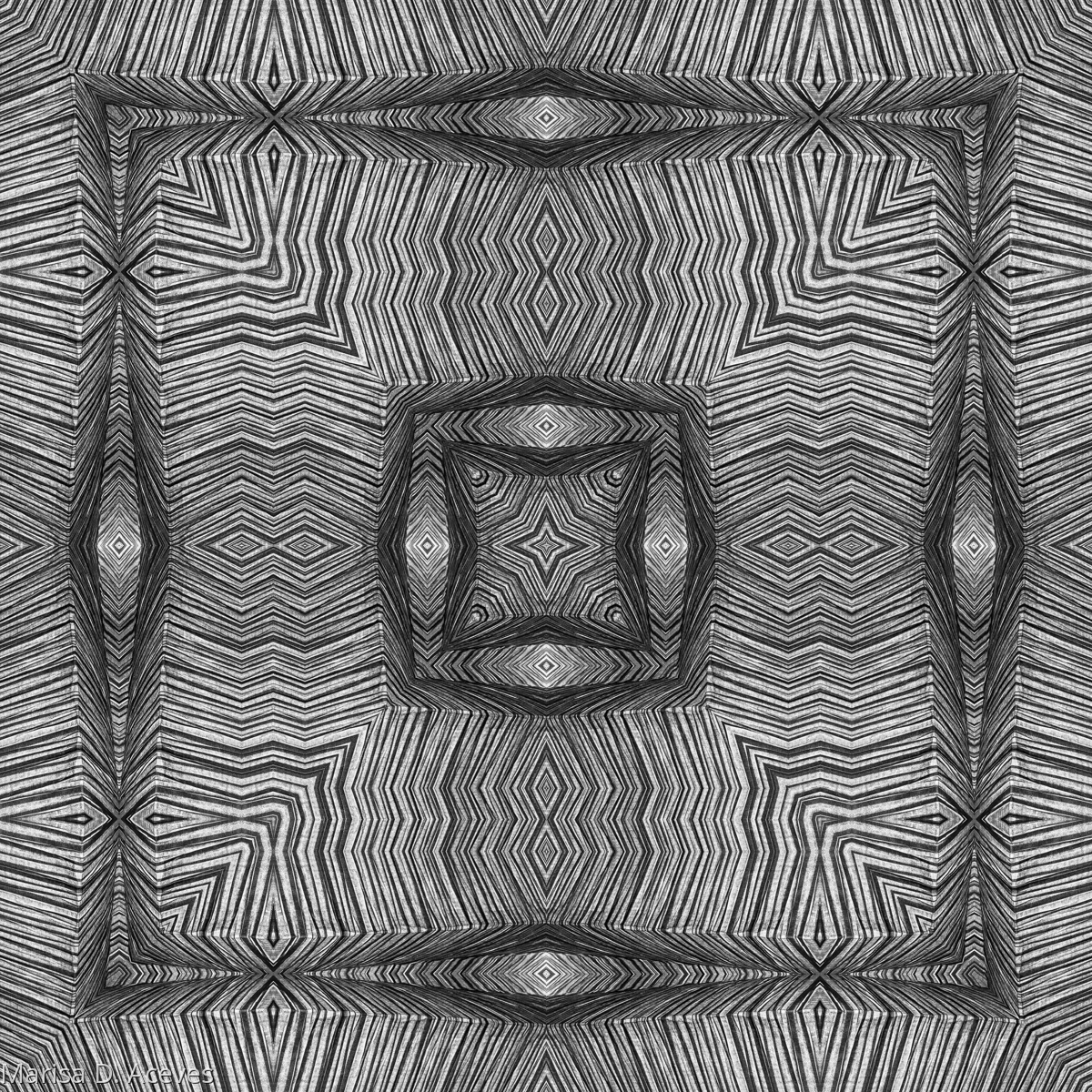 BLACK AND WHITE OPTICAL ART: TRIPLE SQUARE (MINI PRINT) (large view)