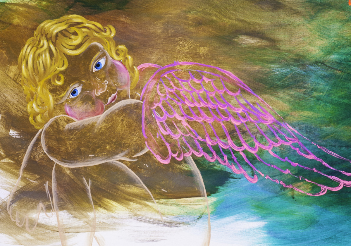 Adam Peot art painting of a cute charming reflective cherub in an ethereal background  (large view)