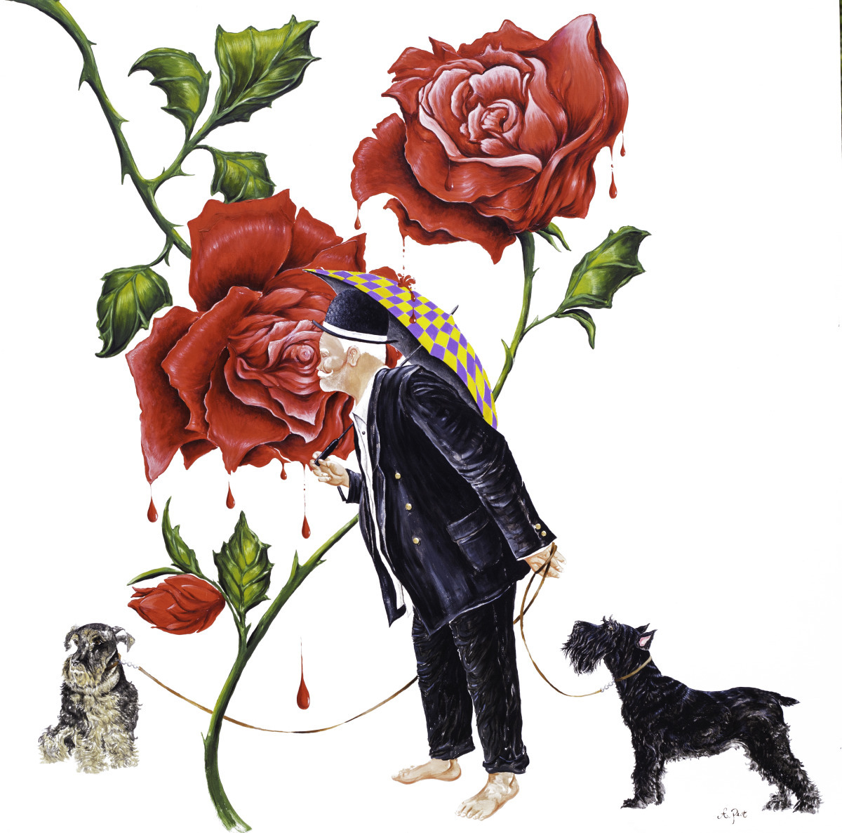Adam Peot art painting of a charming man stopping to smell the roses, thankful for the small wonders of life  (large view)