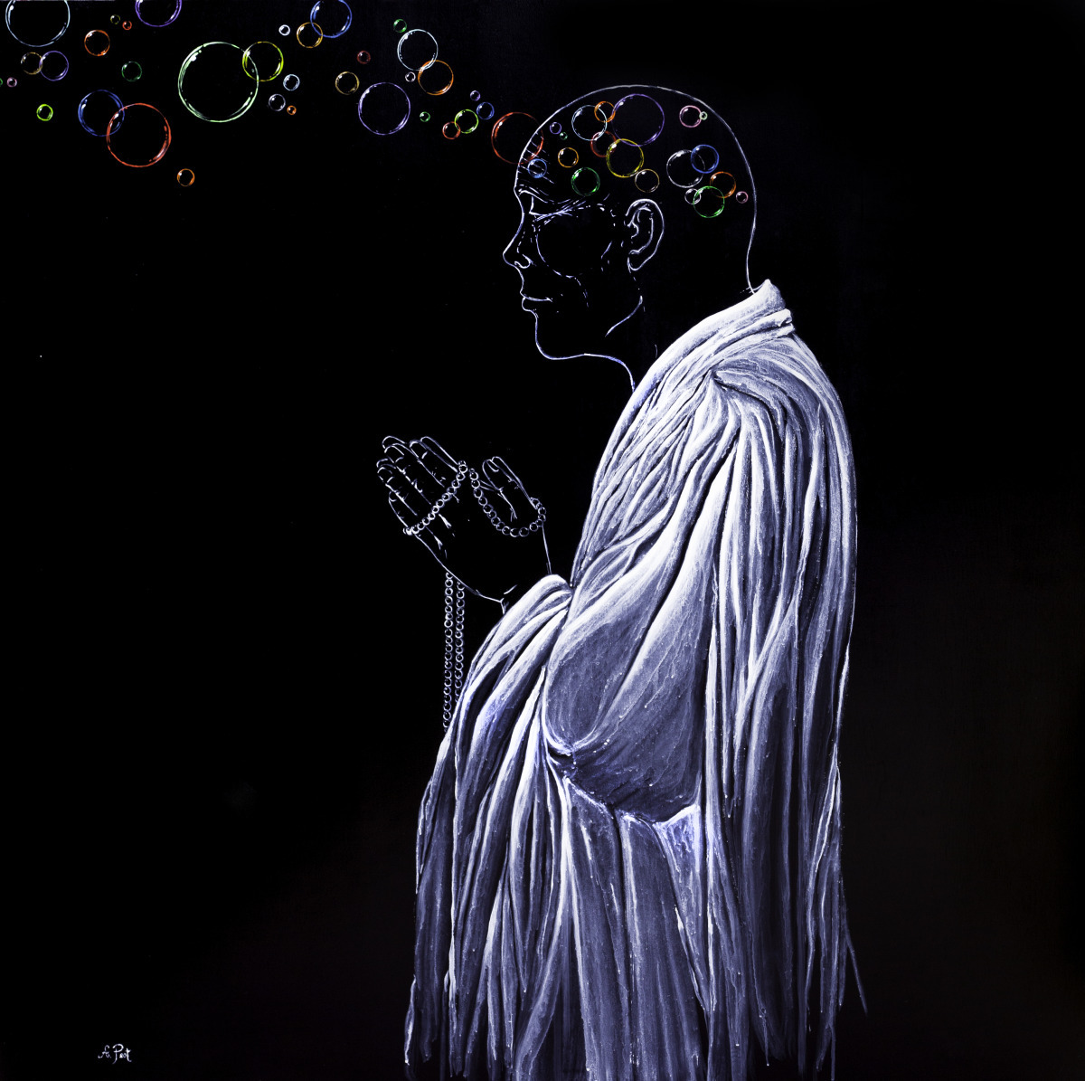 Adam Peot art, painting of a meditative monk whose thoughts are like bubbles,   or thoughts are like clouds passing in the sky, impermanent  (large view)