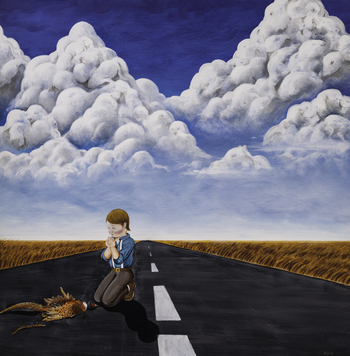 Adam Peot art painting of a young boy praying over  a dead pheasant, while in the clouds behind dozens of life forms emerge representing the continuity and interconnectedness of life.  (large view)