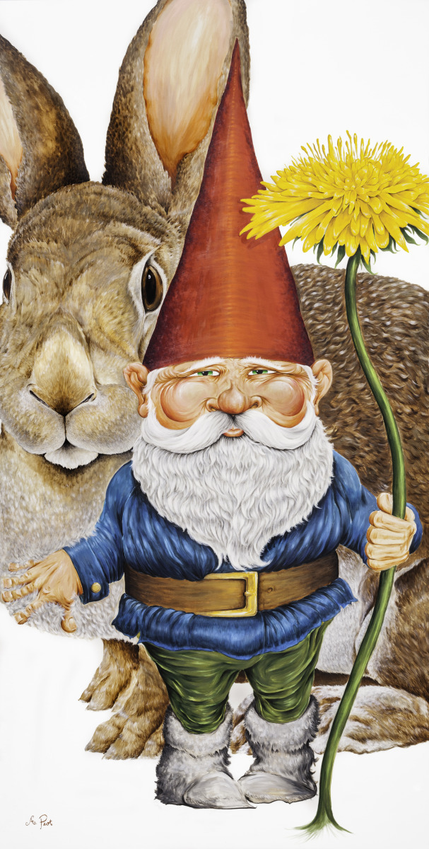 Adam Peot art painting of a gnome and rabbit (large view)