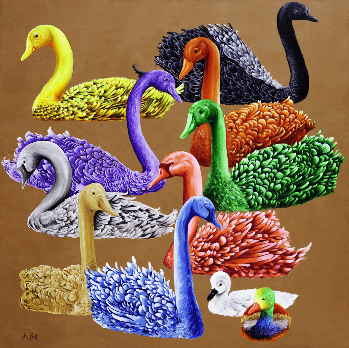Adam Peot art painting of striking neon, gold and silver swans.  (large view)