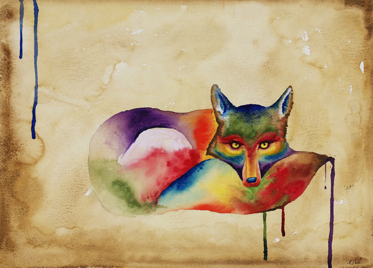 Adam Peot art painting of a watercolor fox, dripping with color (large view)