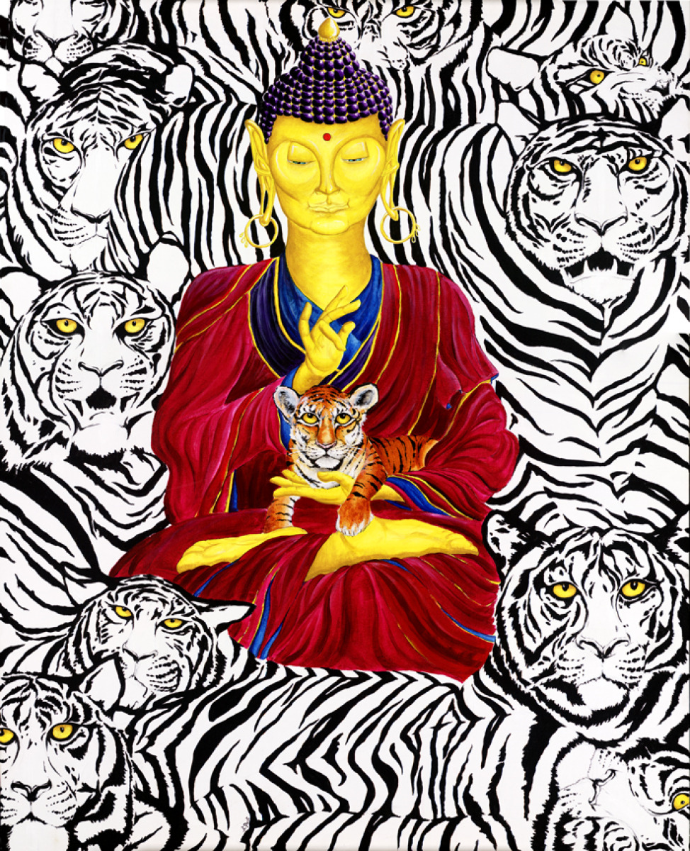 Adam Peot art painting of buddha calmly resting amidst fierce tigers, symbolizing the remaining fearlessly centered amidst the interconnected fears of our world (large view)