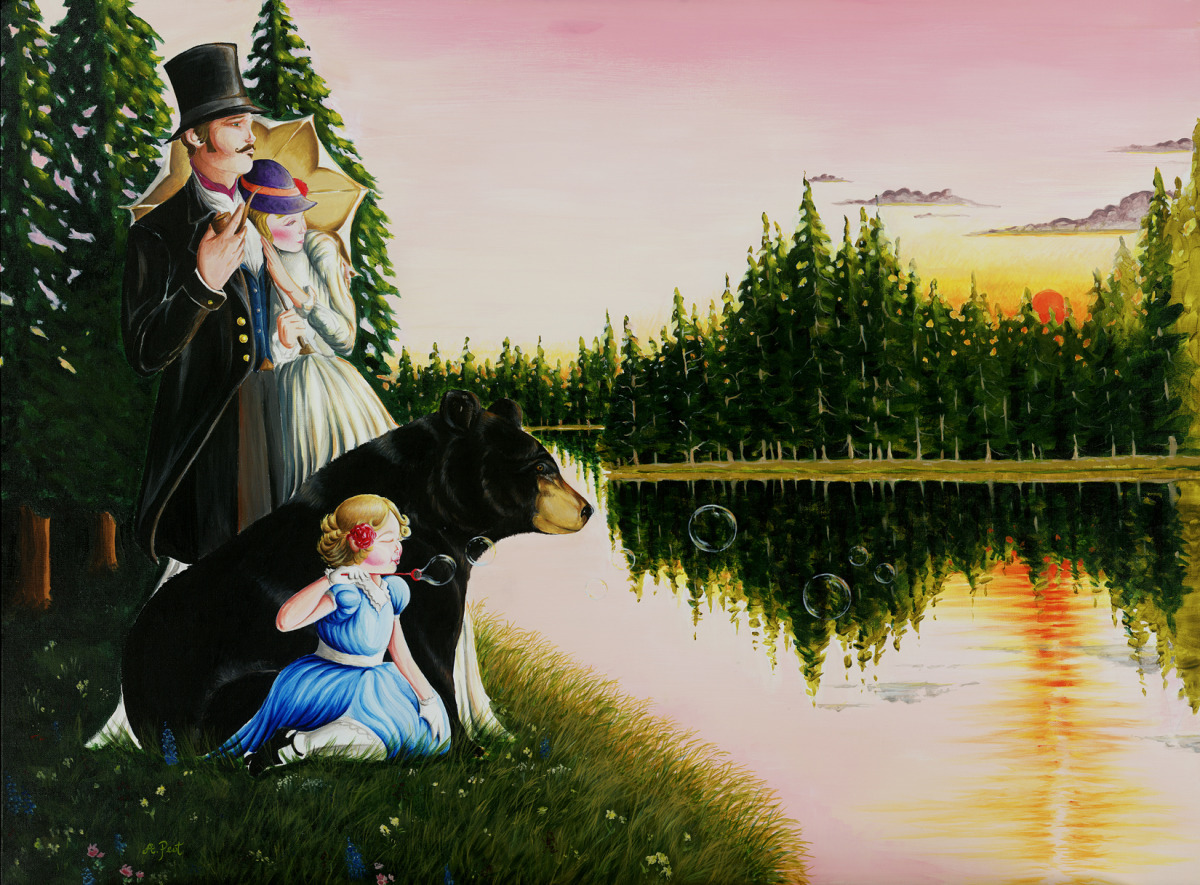 Adam Peot art painting of a family watching the sunset with a bear. very charming (large view)