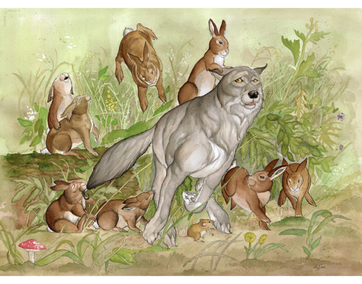 Adam Peot art painting of a wolf being hunted by rabbits instead of the other way around.  (large view)