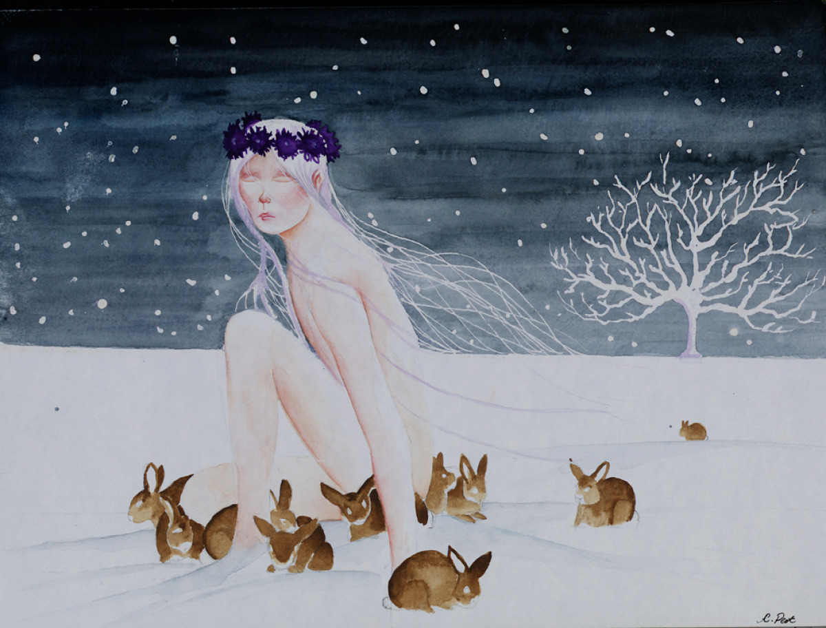 adam peot watercolor painting of a woman being consoled by rabbits in nature (large view)