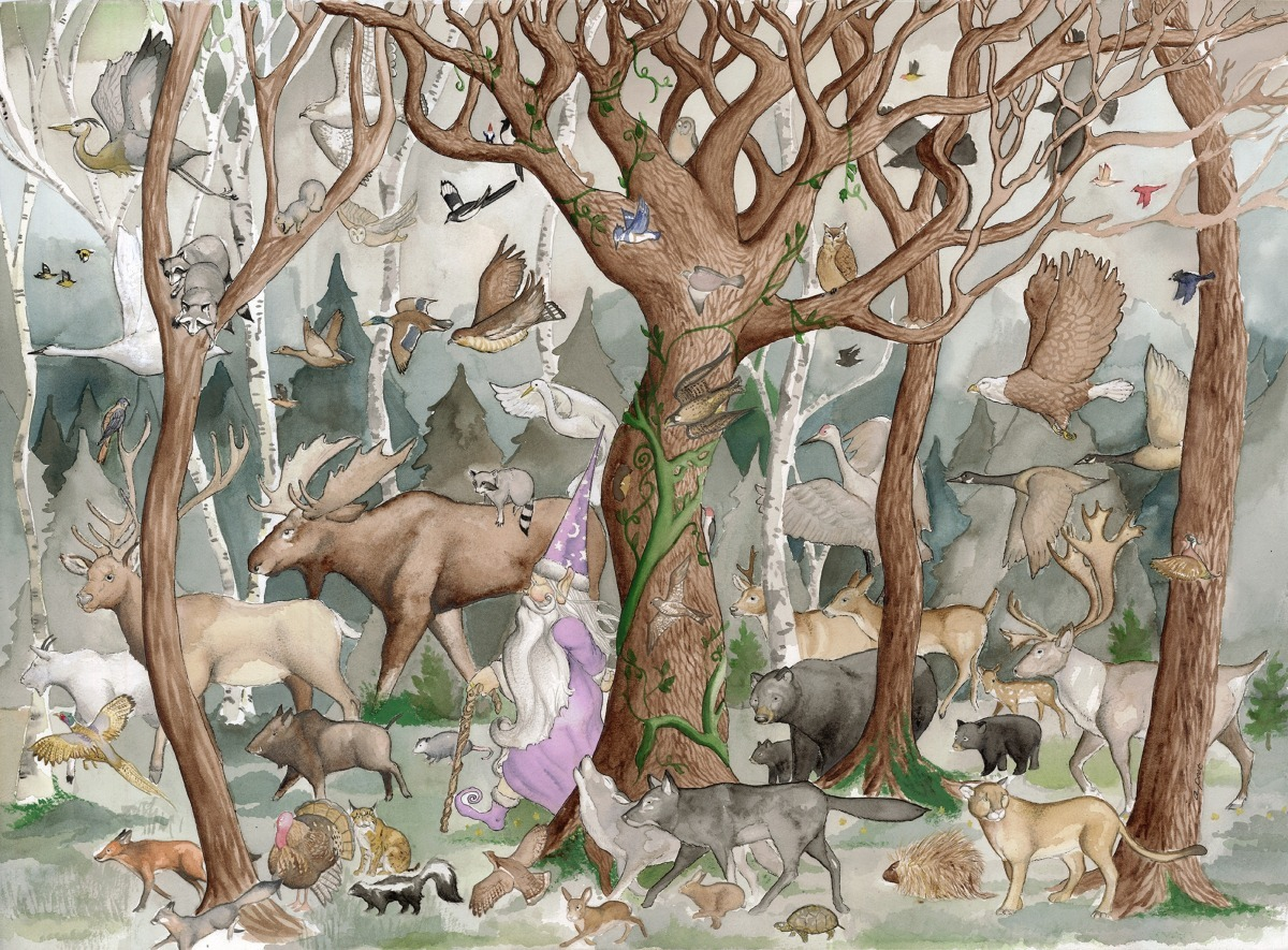 adam peot art painting of a wizard taking a stroll deep in the forest with all his animal friends (large view)