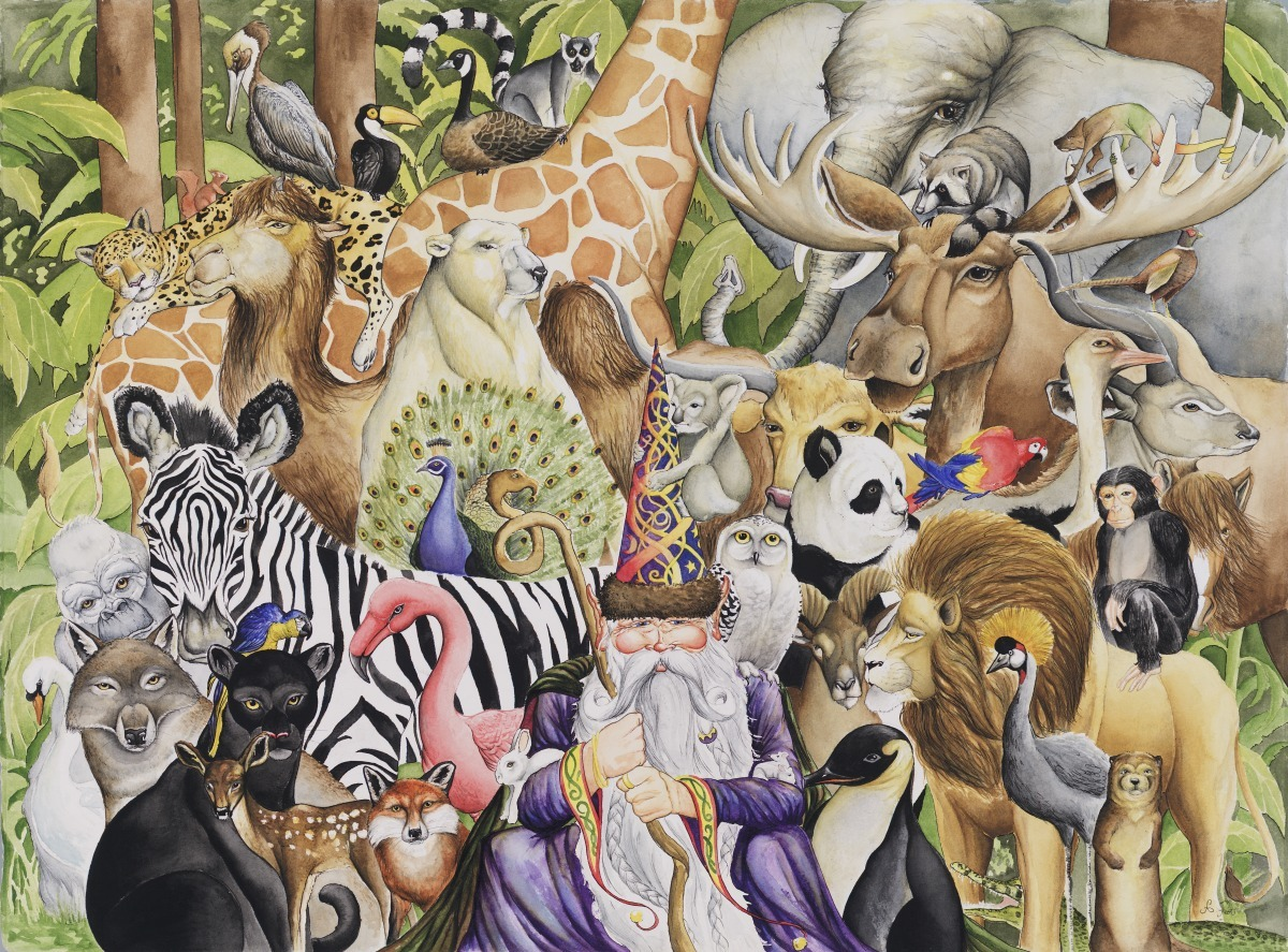Adam Peot art painting of a wizard and a gathering of beautiful animals. (large view)