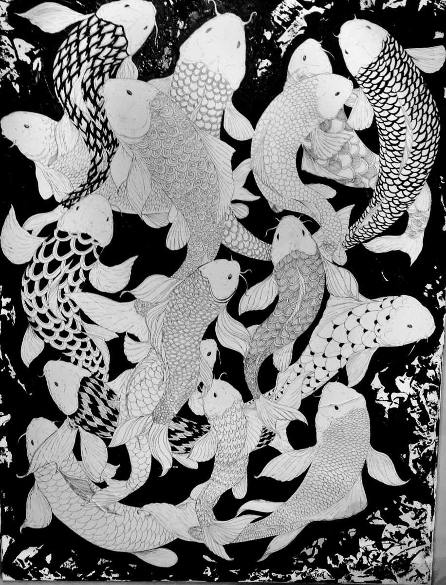 Black & White Koi School (large view)