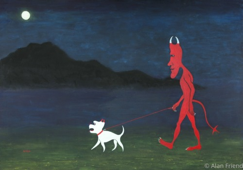 The Devil and His Dog Out for an Evening walk