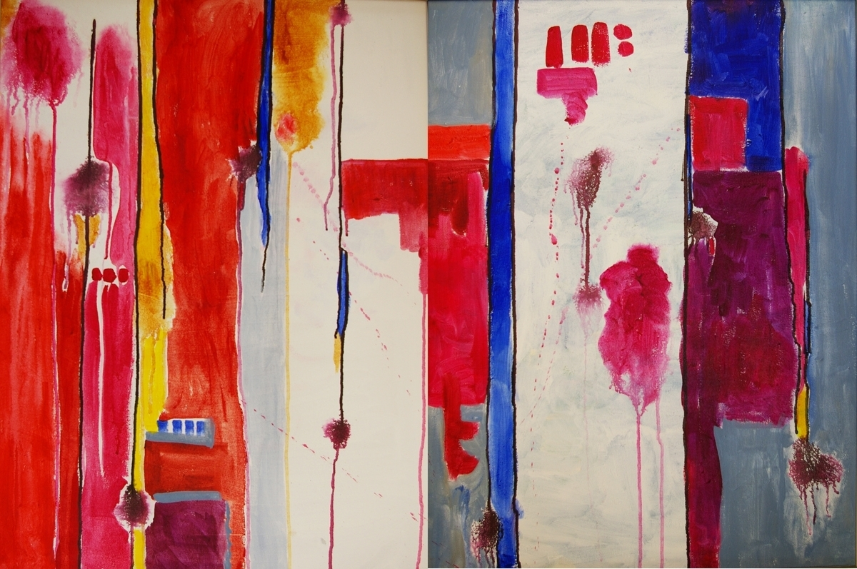 bright acrylic diptych, 30 x 48 (large view)