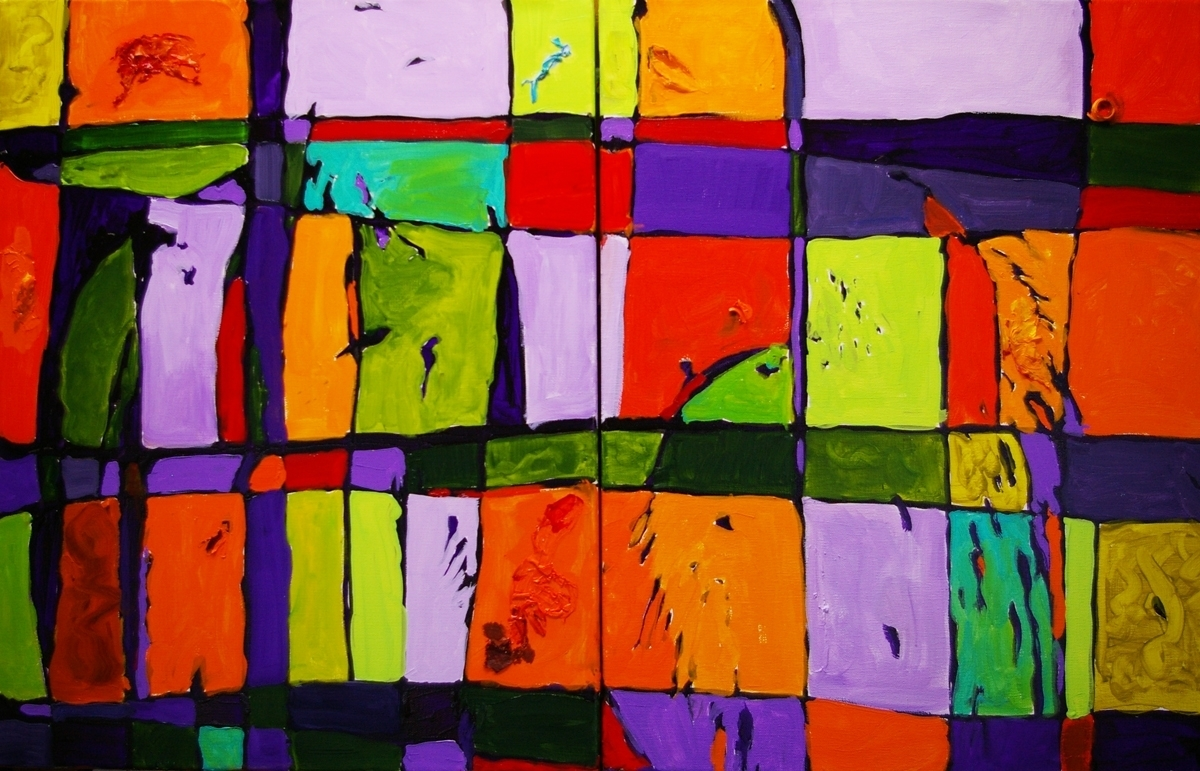 colorful grid diptych, medium size gallery wrap in secondary colors (large view)