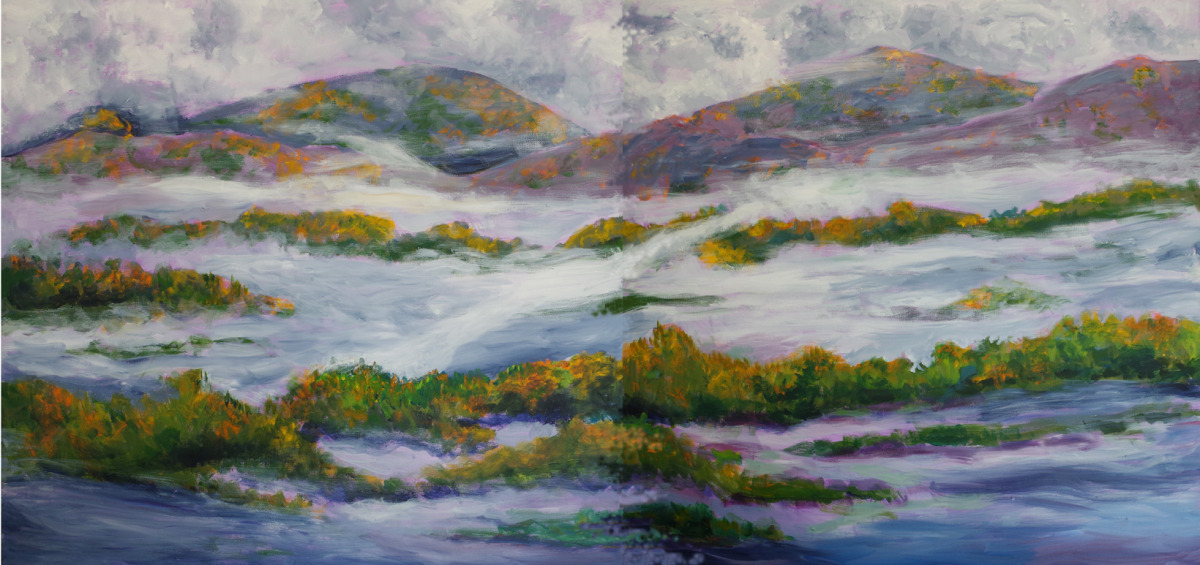 Contemporary landscape in the form of a diptych on canvas in soft colors (large view)