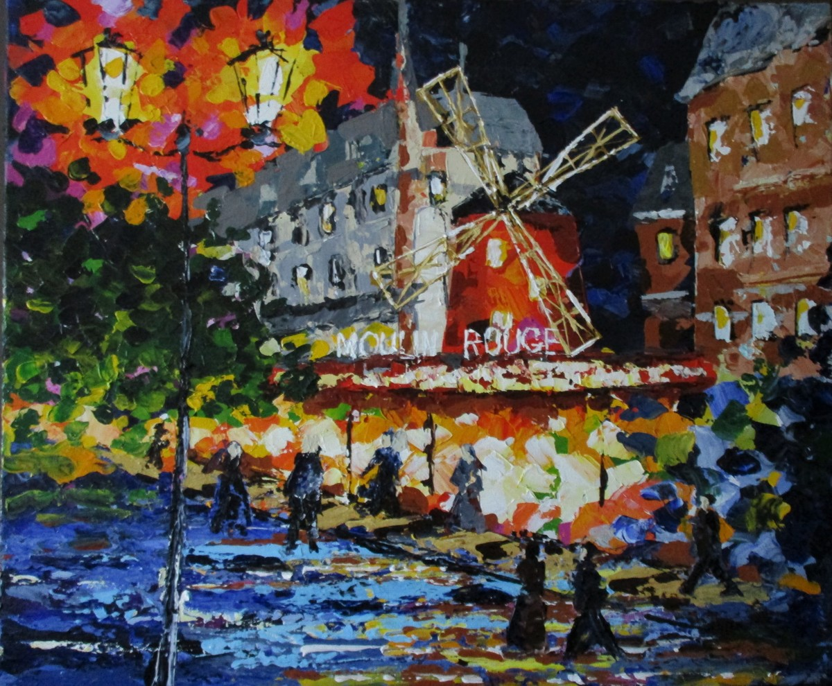 "Moulin Rouge,, 16"" x 20"" acrylic on canvas (large view)"