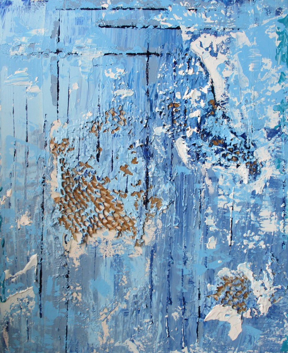 """Caught Burying Woven Webs, 18"""" x 24"""" acrylic on canvas (large view)"""