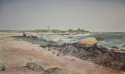 watercolor of Hammonasset St. Park.  Shell BeachSmall accents of pastel were added to the watercolor painting