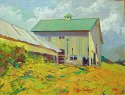 Greenbacker's Barn, Past is an image expressing the vanishing barns  of our state, CT. Palette knife and impasto paint are used to express the energy and power of  nature as she reclaims the landscape. The use of complementary colors  helps
