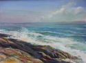 This painting of Pemaquid express the energy and power of  nature as she embraces  the rock formations. The use of complementary colors  helps .