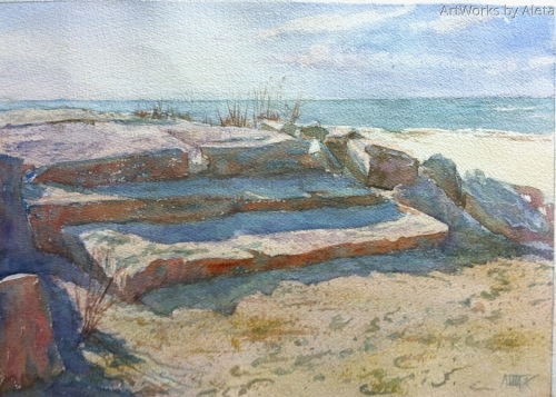 Megs Point Hammonasset State Park Unusual colorful shadows and inviting light.