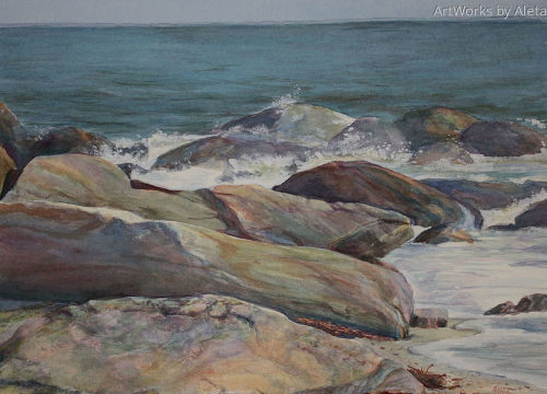 watercolor of Hammonasset St. Park. Colorful inviting monumental rocks on Shell Beach.