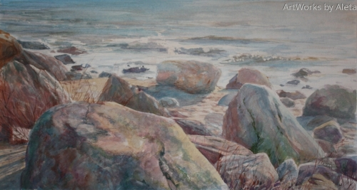 watercolor of Hammonasset St. Park. Rocks inspired me to use color as an invitation to come and rest. 3