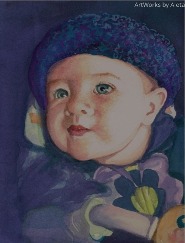 Watercolor painting of our granddaughter. Her eyes were the source of my inspiriation.