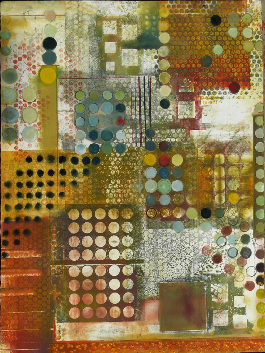 Abstract Oil Paintings Circles Squares Viii By Alan Soffer