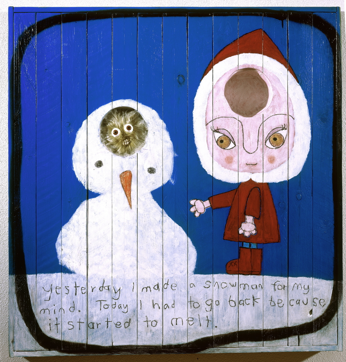 SNOWMAN, Painting on Wood and Mixed Media (large view)