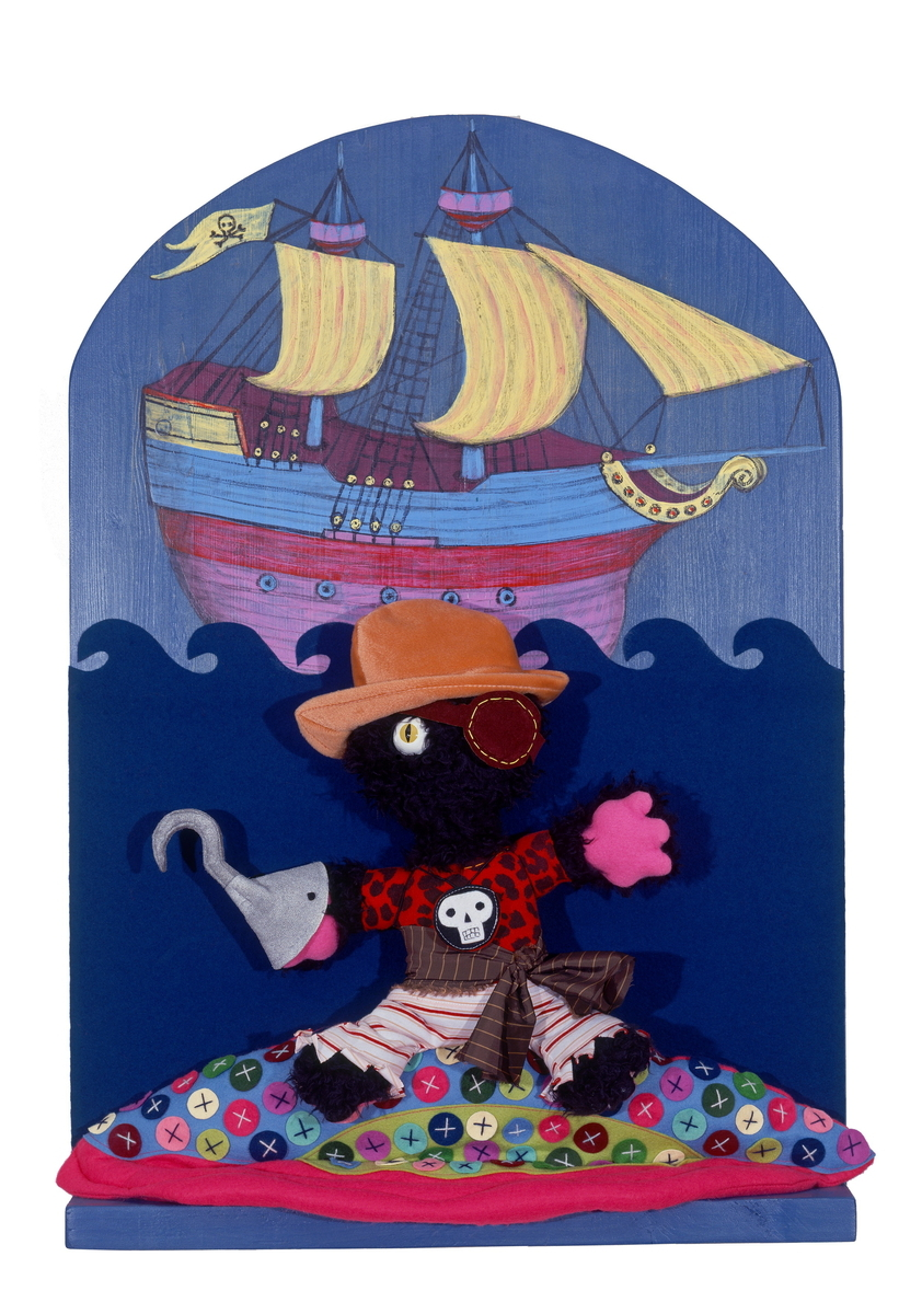 CAPTAIN JAMES C. HOOK, Fabric and Wood Wall Sculpture (large view)