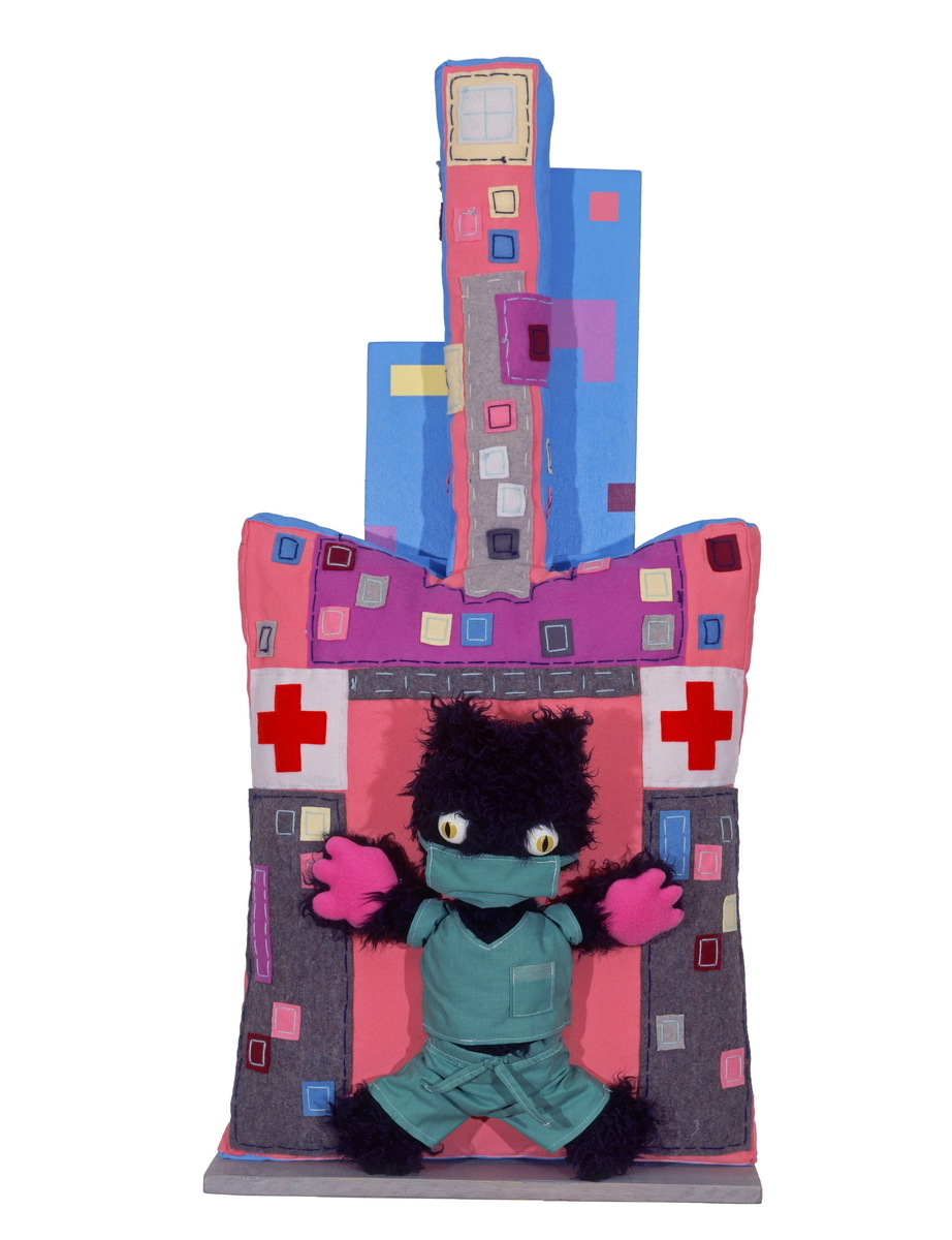 DOCTOR KITTY, Fabric Wall Sculpture (large view)