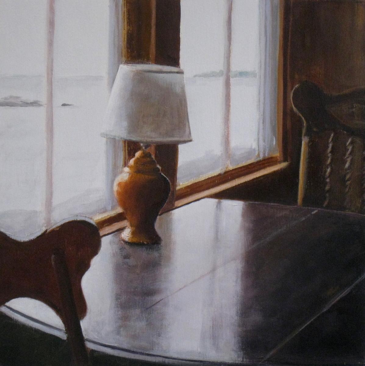 Orange Lamp on Table (large view)