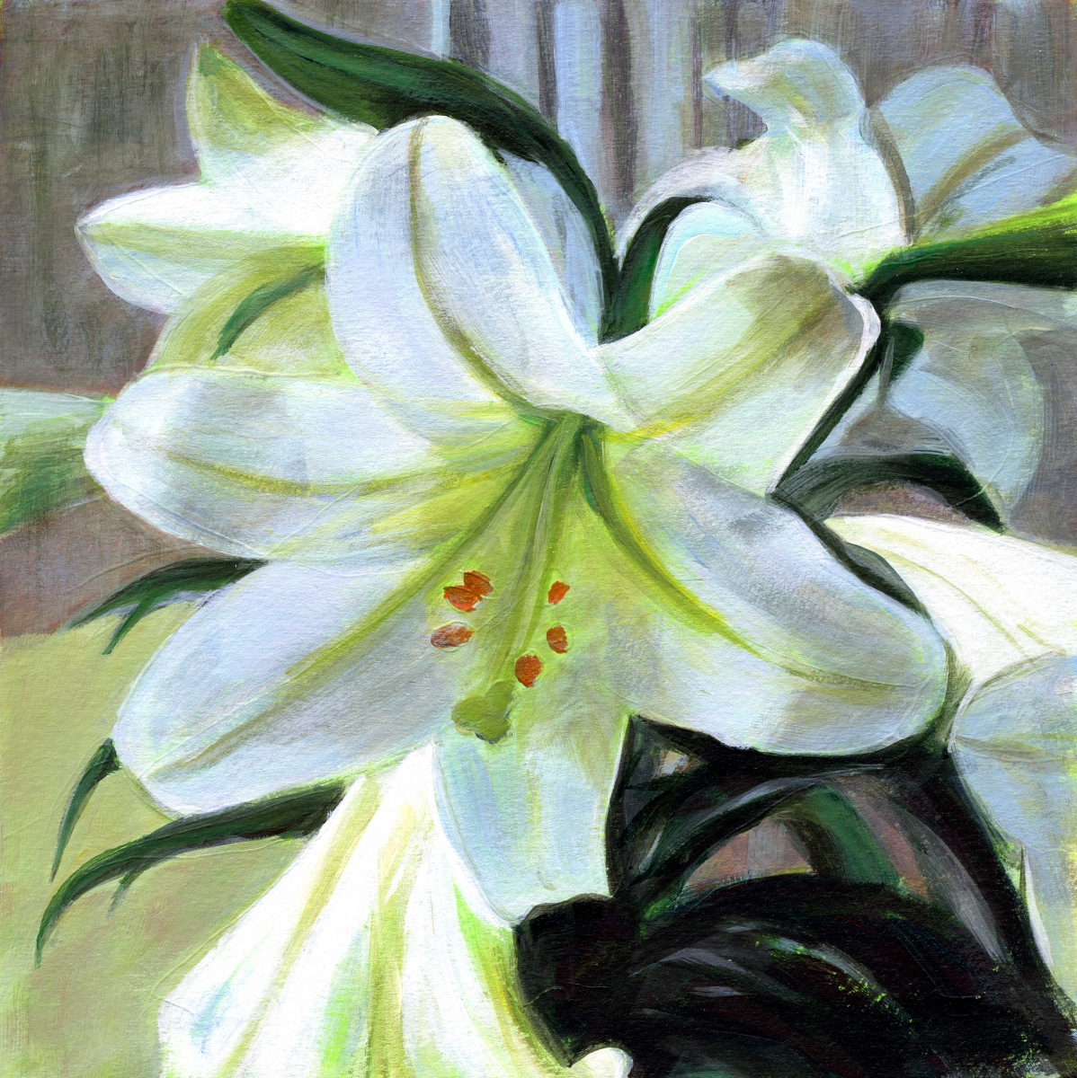 intimate view of easter lilies in full bloom (large view)