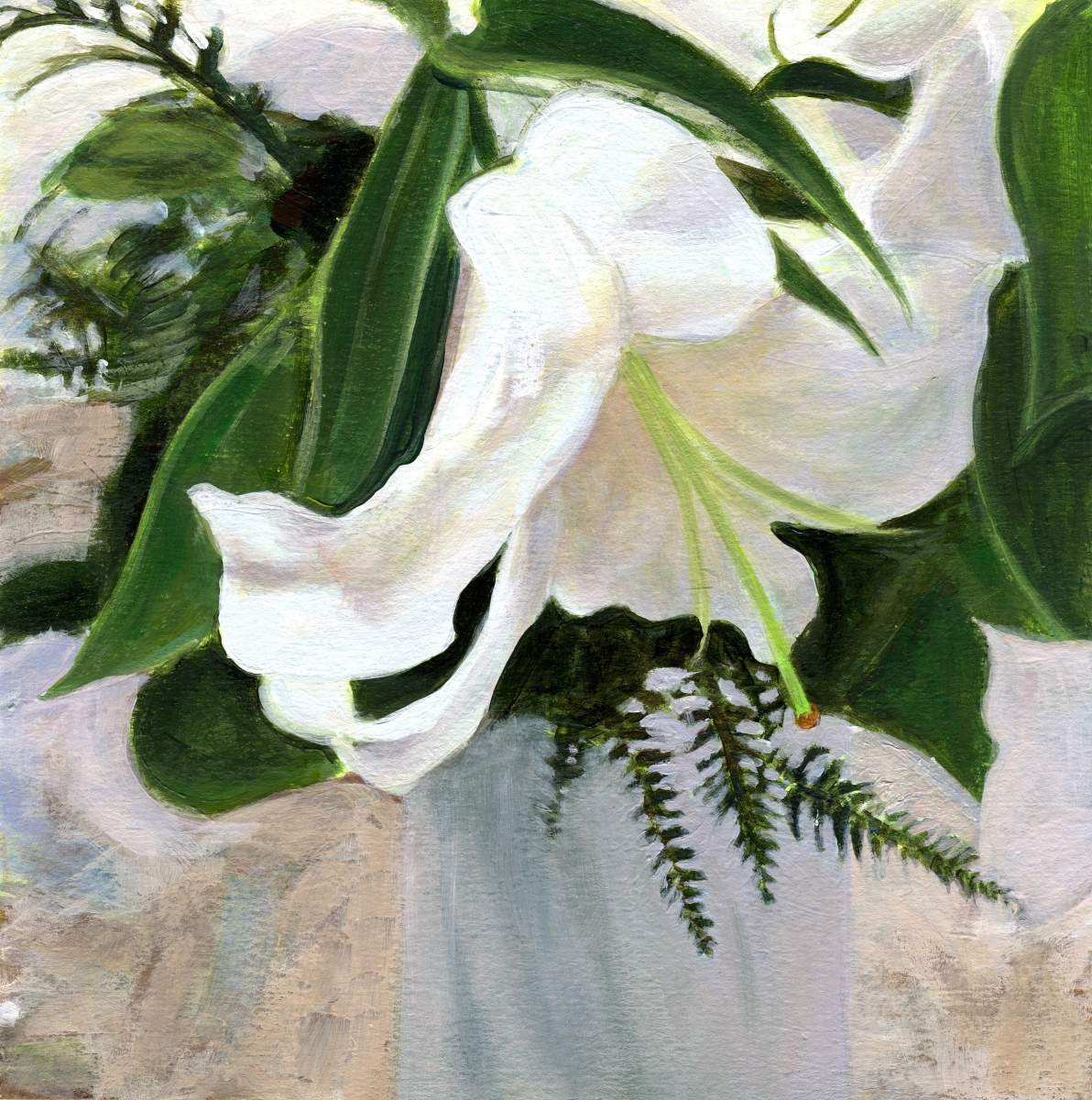 intimate view of lilies in vase (large view)