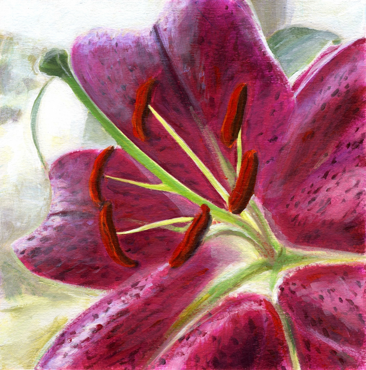 intimate view of pink oriental lily (large view)