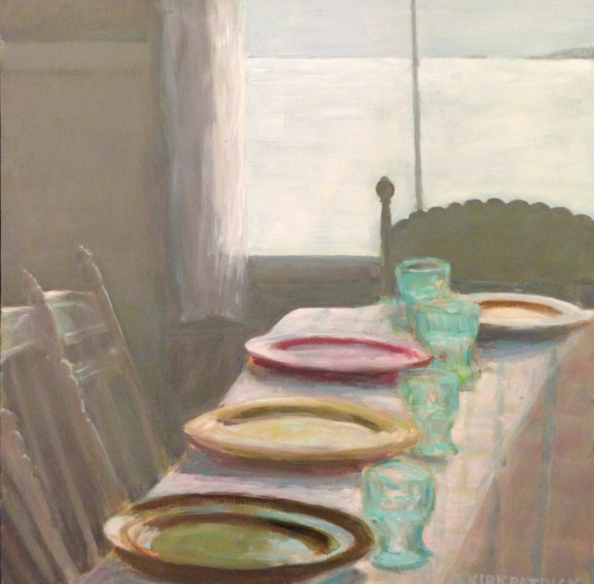 table set for supper, colorful plates (large view)