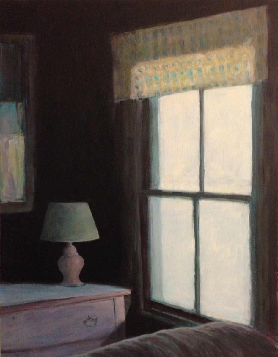 pink lamp and bureau in cottage bedroom with window (large view)
