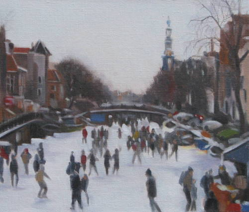 Skating on the Prinsengracht: Amsterdam