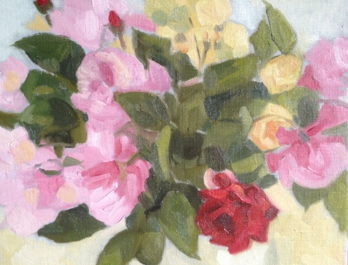 Garden Roses by Alison Chambers RBSA