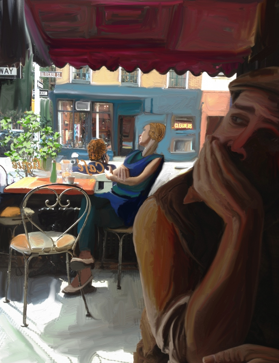 Stephin with backdrop of woman at cafe window (large view)