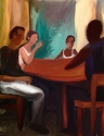 Two male and two female young people sit at round table (thumbnail)