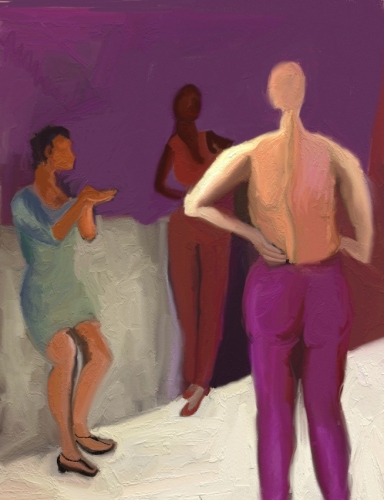 magenta pants and wall, woman topless facing other woman (large view)